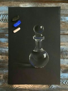 There is something so supremely beautiful about the simplicity of this work. Pastel, glass bottle