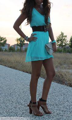 Cute dress, love that color.
