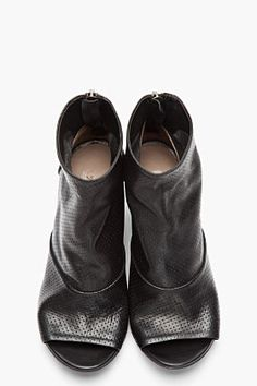 MARSÈLL Black Leather Open Toe Perforated Zip Ankle Boots