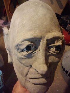Foam head covered in paper mache