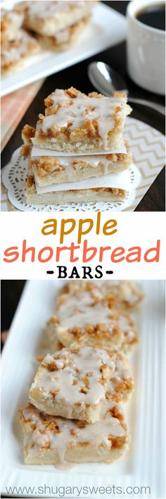 Apple Shortbread Bars: these little bites of perfection are so delicious! I enjoy them served cold!!
