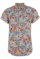 Cheetah & Roses S/S Button Up, Grey, XL    $56.00  Topman's Cheetah And Roses shirt will take you down to the paradise city. All over tonal grey cheetah print, pop color rose print, button front, left side chest pocket. Roll up the sleeves for extra style!