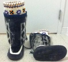 Inuit made women's sealskin kamiks by Susie Tassugat  I won these on auctions last year, but sold them bc I was moving south. So beautiful! I miss them! <3 worth every penny!