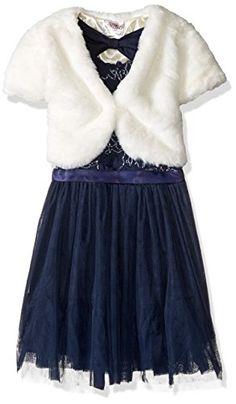 6a266a2367 Beautees Little Girls 2 Piece Faux Fur Jacket Over Floral Soutache Dress  Navy 6 --