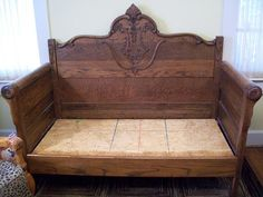 Cottage Hill: Furniture / Just a little back story -- the loveseat was made from a antique bed - had the footboard cut in half - put it all back together to make this cool loveseat.