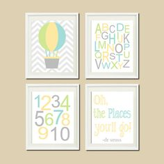 Hot Air Balloon Nursery Decor Oh The Places You'll GO Quote Baby Boy Wall ART Chevron Alphabet Numbers Set of 4 Prints Dr Seuss Nursery