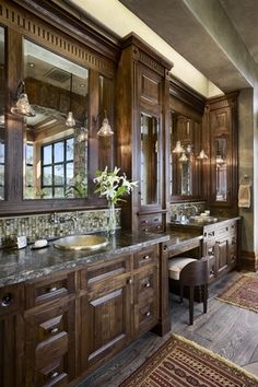 Craftsman Master Bathroom with Standard height, Ceramic Tile, Hinkley lighting- congress wall sconce in oil rubbed bronze