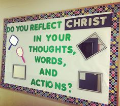 """Reflecting Christ Bulletin Board - This parochial themed bulletin board is perfect for reminding students that they are responsible for their own actions and thoughts. """"This bulletin board was created using construction paper, purchased bullet Welcome Bulletin Boards, Interactive Bulletin Boards, Bulletin Board Borders, Church Bulletin Boards, New Classroom, Classroom Displays, Classroom Decor, Construction Theme, Construction Paper"""