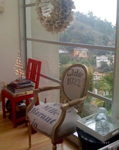 printed burlap chair