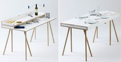 Double Function Table! -Wooden 'Doppeldecker' Table, Design by Bernotat Combine Eating & Working!
