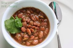 The BEST slow cooker {Pinto Bean} recipe I made these tonight and wow they are awesome they taste more like charro beans u get at a Mexican restaurant. Cook rice to go with them and flour tortillas