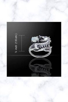Dragon Holding Gem Sterling Silver Ring
