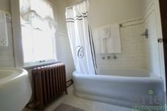 Rehab Addict Nicole Curtis does it again. This is the real deal! Original subway tile and white mosaic floor tile. Fixtures are original too.  Get the look with authentic subway tiles and mosaics from Heritage tile at subwaytile.com