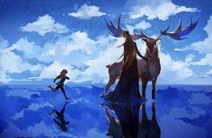 Thranduil, Legolas and the Elk - 精灵父子