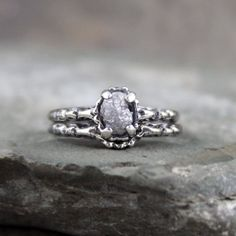 Hey, I found this really awesome Etsy listing at https://www.etsy.com/listing/186294427/raw-diamond-wedding-set-oxidized-antique