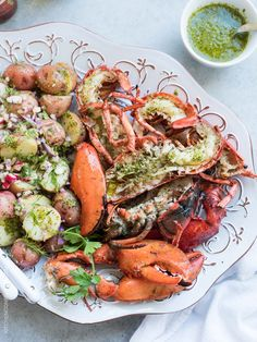 Grilled Chimichurri Lobster and Chimichurri Potato Salad is the easiest feast to come off the grill! A simple chimichurri made with good olive oil and red wine vinegar adds zing to grilled lobster and an herbed potato salad. Try it for your next barbecue! Grilled Fish Recipes, Healthy Grilling Recipes, Seafood Recipes, Seafood Meals, Tilapia Recipes, Recipes Dinner, Tzatziki, Tortillas, Guacamole