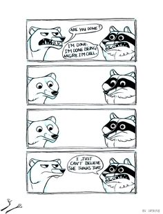 "24 Funny and Self-Deprecating Raccoon Comics - Funny memes that ""GET IT"" and want you to too. Get the latest funniest memes and keep up what is going on in the meme-o-sphere. Book Art, Funny Jokes, Hilarious, Laugh Track, Comics Story, Short Comics, Funny Comics, Funny Cute, Comic Strips"