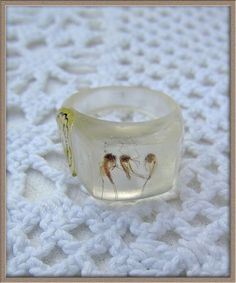 Creepy BUGS insect Vintage plastic RING real Bug inside ring Deadstock never worn Size 8