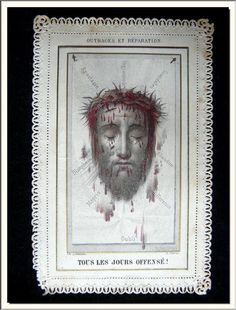 """ANTIQUE 1860's """" HOLY FACE of JESUS """" FRENCH CANIVET LACE HOLY CARD . SEE MORE !"""