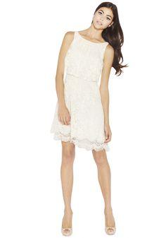 DENISE A-LINE DRAPE DRESS WITH BEADED HEM | Alice + Olivia |