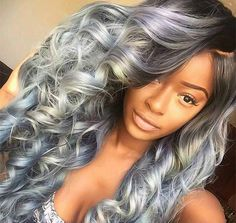 85 Silver Hair Color Ideas and Tips for Dyeing, Maintaining Your Grey Hair Lace Frontal 360, Frontal Hair, Color Ceniza, Curly Hair Styles, Natural Hair Styles, Silver Grey Hair, Gray Hair, White Hair, Colorful Hair