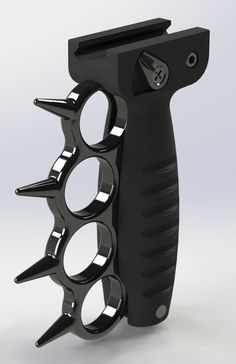 AR 15 Accessories: AR 15 Foregrip with Spiked Brass Knuckles (Black/Anodized)