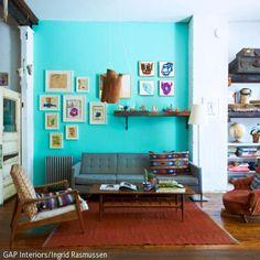 Dieser Wohnzimmer Im Retro Look Berzeugt Durch Seinen Charmanten Und Doch Etwas Verschrobenen Style
