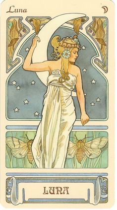 What Are Tarot Cards? Made up of no less than seventy-eight cards, each deck of Tarot cards are all the same. Tarot cards come in all sizes with all types Alphonse Mucha, Wm Logo, Funny Bird, Illustrations, Illustration Art, Jugendstil Design, Moon Goddess, Luna Goddess, Goddess Art
