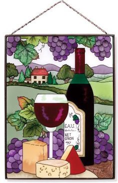 "Joan Baker Designs AP125 Wine and Cheese Stained Glass Art Panel Joan Baker Designs, 9-1/2 by 12-1/2-Inch by Joan Baker Designs. $49.95. Bronzed metal frame with chain 9.5 inches wide x 12.5 inches tall. Rich color and detail. Adds a touch of tuscan ambience to your home. Hand-painted art glass window panel. This Suncatcher Art Panel is sure to delight any wine-lover!  Features that classic combo of wine and cheese to grace the window of your ""chateau.""  Vibrant color ..."