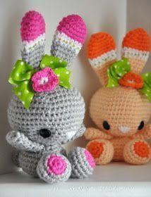 Conejita Amigurumi - Patrón Gratis en Español aquí: http://chicaoutlet.blogspot.com.ar/2014/06/conejitas-gemelas.html