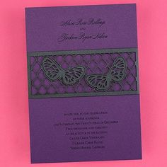 Butterfly Band Invitation - Purple Shimmer weddingneeds.carlsoncraft.com
