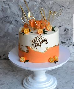 Would like to have this kind of birthday cake? Elegant Birthday Cakes, Happy Birthday Wishes Cake, Beautiful Birthday Cakes, Birthday Cakes For Women, Beautiful Cakes, Amazing Cakes, Fathers Day Cake, Birthday Cake Decorating, Drip Cakes