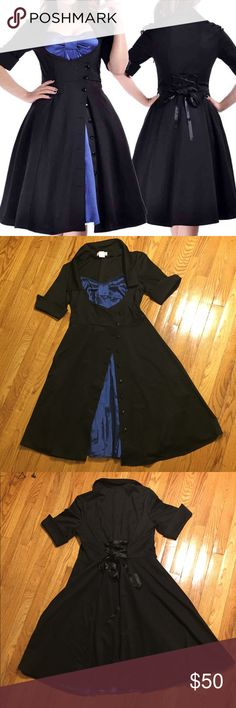 Goth Rockabilly Retro Corset Dress Size XL Look amazing in this black and blue dress by Chic Star! The black part is made of ponte and the blue part is made of satin. The corset on the back is adjustable. It is size XL. Laying down, the shoulders are 17 inches, the bust is 18 inches, the waist is 16 inches, the circumference of the sleeve is 6 inches and the overall length is about 40 inches. Love the dress but not the price? Feel free to send an offer or bundle with 1 more item for 20%…
