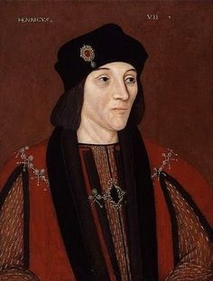 A portrait of Henry VII., first of the Tudor Monarchs. At the beginning of his reign in 1485, fashion was still in the style of the Medieval.