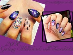 20 Hand Painted Gloss Full Cover False Nails  Galaxy Stiletto Crystal Nails+Glue