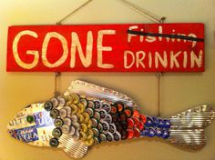 Wood Handmade Fishing Sign with Beer Cans and Bottle Caps. $65.00, via Etsy.