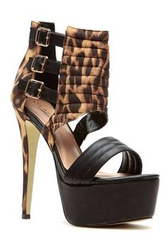Leopard Print Stitched and Buckled Platform Heels