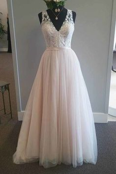 Pretty pink tulle lace v-neck A-line long dress,prom dress for teens