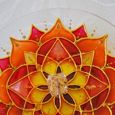 Stained Glass Censer Mandala Flower Red, Orange.  made on glass with 13,5cm diameter. #bela_mandala #belamandala