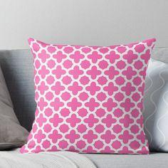White On Hot Pink Quatrefoil Pattern Throw Pillow by KarinaI
