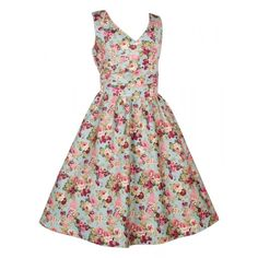May V-neck 50's Style Floral Dress in Teal/Pink