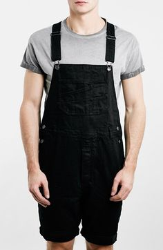 90€ Topman Denim Short Overalls available at #Nordstrom
