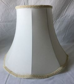 Vintage bell shaped lamp shade flared ivory fabric possibly silk 11 vintage bell shaped lamp shade scalloped flared ivory fabric w ribbon trim 12 aloadofball Choice Image
