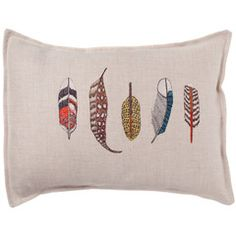 This would fit in nicely on my bed.  Embroidery+Feathers+Linen=perfect pillow.