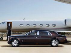 Ultimate Luxury: Rolls Royce Phantom in front of a Gulfstream G650.
