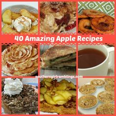 40 Amazing Apple Recipes Perfect for the Upcoming Apple Season!! #recipes #desserts #apples