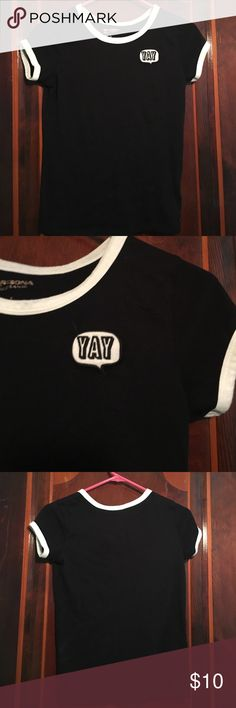 "Black t shirt with patch This is a black t shirt, with a ""yay"" patch on the right jcpenney Tops Tees - Short Sleeve"