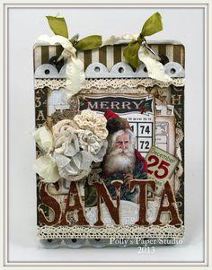 Vintage Santa Christmas Mini Album Handmade by PollysPaper on Etsy, $28.00
