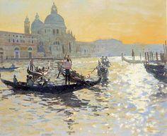 Painting of gondolas by Ken Howard