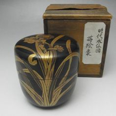 NATSUME Antique Japanese Gold Lacquered Wooden Tea Caddy w Box in Edo #1860 - antique shop CHANO-YU